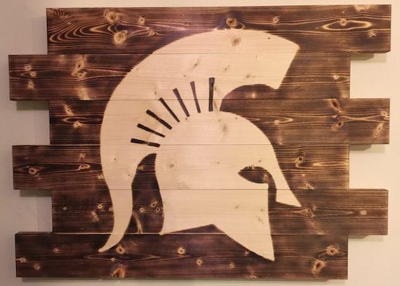Michigan Man Cave Signs : Michigan state spartan football man cave wood sign