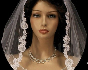 108 inches bridal veil, wedding veil with Alencon lace, french lace veil - in white and ivory