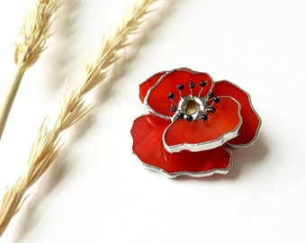 Glass Brooch Poppy, Red Flower Brooch, Stained Glass Jewelry, Tiffany Technique, Best Gidt fot Her