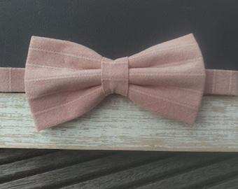 Men's Dusky Pink Striped Bow Tie
