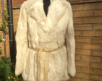 True vintage fur coat cream off-white rabbit coney real genuine fur 1950s 1960s size uk 12
