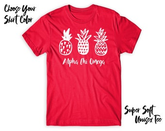 AXO Alpha Chi Omega Pineapple Trio Choose Your TShirt Color!