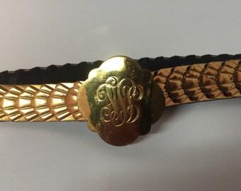 Vintage gold tone metal stretch belt