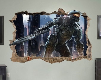 ON SALE Halo 4/5 MASTER Chief 3d Wall Sticker Smashed Bedroom Kids decor Vinyl Removable Art Decal Huge   Large   Small Removable Mural Kids