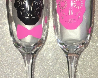 Sugar skull wedding glasses