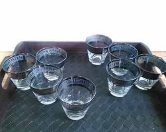 Lot of 8 Vintage Greek Revival Mercury Rocks Glasses