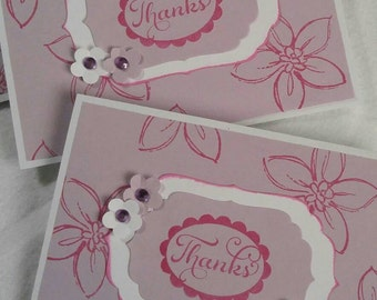 Set of 12 thank you cards, handmade greeting, stamped by hand, hand made box of cards