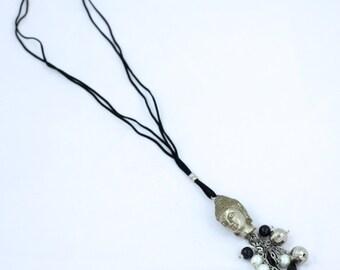 Silver & Black Buddha Charm Necklace