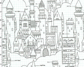 Magic - Castle Plans Fabric (Metallic) - White - sold by the 1/2 yard