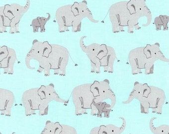 Wild Adventure Elephants Fabric - Nature Blue - sold by the 1/2 yard