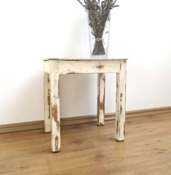 Vintage Wood Stool White Distressed End Side Coffee Table