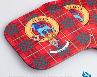 Clan Crest and Tartan Coaster 4 pack