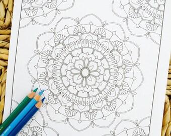 """Mandala """"Delilah Corner"""" Hand Drawn Adult Coloring Page Print"""