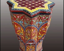 Maura Carved / Painted / Mosaic Inlaid Moroccan Star Table