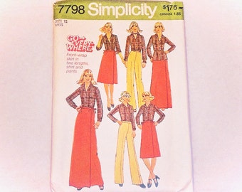 Simplicity Pattern 7798 Miss Size 12 Front Wrap Skirt Shirt and Pants Vintage 1976 Pattern