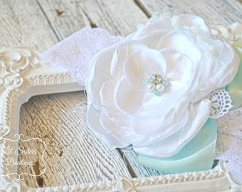 Teal Blossom, White Headband, Mint Headband, Vintage Headband, Shabby Chic Headband, Wedding, Flower Girl Headband - Vintage Mint