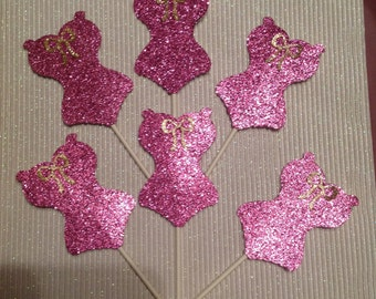 Corset Cupcake Toppers 12 each bridal bachelorette party wedding pink & gold cake decoration Handmade New