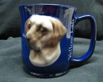Yellow Lab dog coffee tea dog mug cobalt blue raised figure paw prints