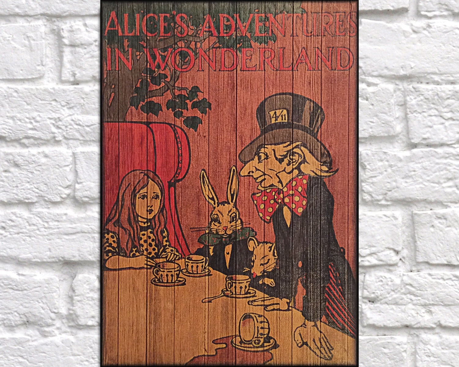 Book Cover Wall Art : Wood lewis carroll book cover art wall rustic panel