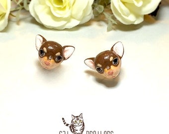 Chihuahua Dog Earrings, Dog Stud Earrings, polymer clay dog, dog sculpture, hand painted with Acrylic colors.