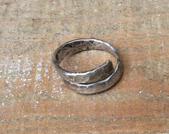 Hammered silver ring - sterling silver band ring - textured wide band - handmade simple ring
