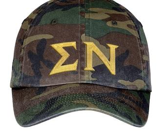 Sigma Nu Lettered Camouflage Hat