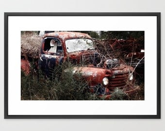 Old truck photo, Truck Print, Truck Photo, Rusted car, abandoned, junkyard, red ford pickup, vintage truck, Ford Model, History, Car lover