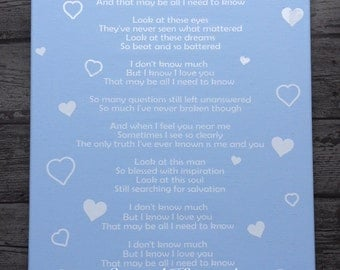 Wedding First Dance Song Lyrics Canvas Gift Personalised Anniversary Marriage Mr & Mrs