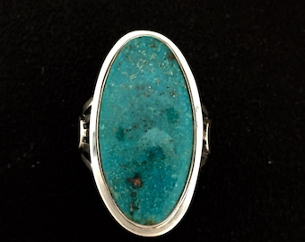 Native American Navajo Turquoise Mt. & Sterling Silver Ring Size 8