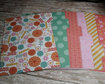 Dividers for A5 Large Size Planner Flowers Dots Stripes