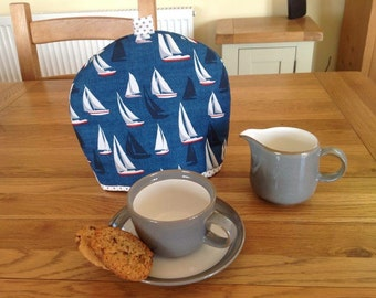 Tea Cosy in nautical boat fabric for a small tea pot, small tea cozy