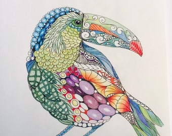 Zentangle toucan, zentangle art,colored zentangle,toucan art,bird art,ink colored pencils,wall art,tropical art