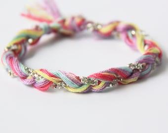 Boho Bracelet, Friendship Bracelet, Braid Bracelet, Cotton Thread Woven Bracelet with a diamond string in it