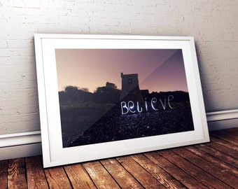 long exposure light writing believe photography print