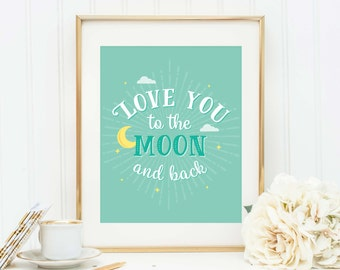 Love You to Moon, Nursery Decor, Printable, Quote Postcard, To the Moon and Back, Nursery Print, New Baby Gift, Nursery Art, Baby Print