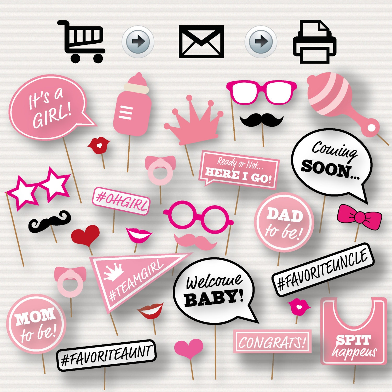 Baby Shower Printable Booth Props Baby Shower