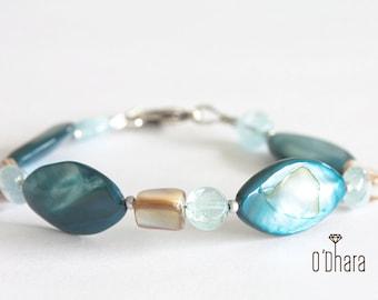 Blue semi precious stones bracelet, brown nacré coating gemstones elegant modern beaded boho bracelet, handmade jewelry
