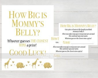 Safari Baby shower, Baby shower games, how big is mommys belly, Baby shower safari theme, guessing game, belly size game, elephant BS06