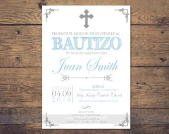 Silver Baptism invitation boy spanish, baptism invitation printable, Christening Invitation, silver baptism invitation, invites, español