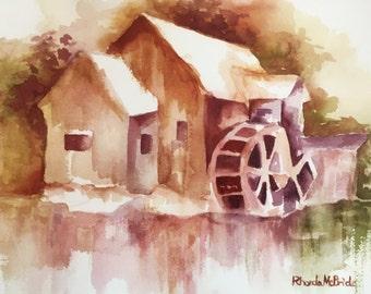 Old Mill Barn Watercolor Print, Rustic Barn, Country Barn, Cottage Barn, Old Barn Print, Vintage Barn, River Mill, Autumn Barn, Gift Item