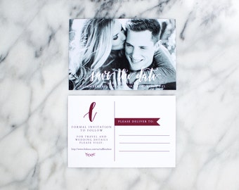 Custom Save the Date Postcard with Calligraphy
