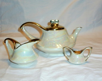 Vintage Iridescent Teapot With Creamer and Sugar Set