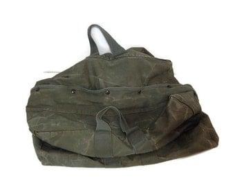Vintage Military Canvas Bag - Aviator Bag / Duffle Bag