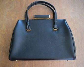70s Black Leather Handbag