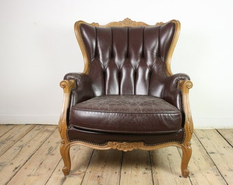 FREE SHIPPING* French Bergère chair, antique armchair Louis XVI, original leather upholstery, shabby chic lounge chair, Hollywood regency