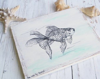 Goldfish print on wood, Fish wall sign, Dorm decor, Wood signs for home, Art & collectibles, Rustic wood sign, Nautical art, gift for home