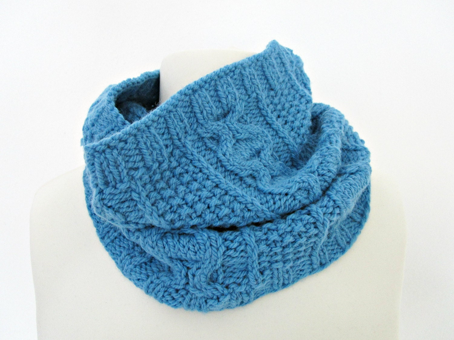 knit cowl blue knit scarf wool knit scarf blue knitted