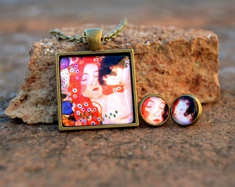 "Pendant and earrings ""mother and son"" by Gustav Klimt"