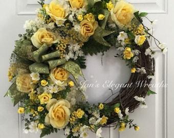 Summer Wreath.  Yellow Rose wreath.  Elegant Rose wreath.  Summer door wreath.  Yellow Summer Wreath.
