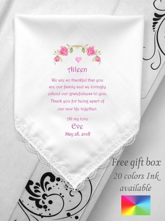 Wedding Gift For Stepmom : Stepmom Wedding Hankie Gift-Personalized Wedding Handkerchief For ...
